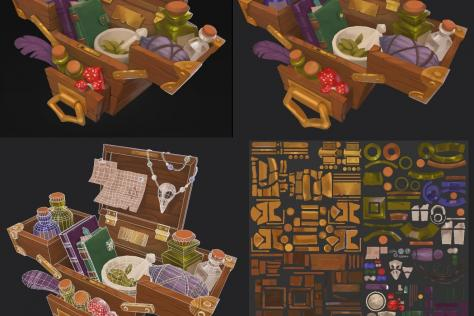 process collage of 3D modeled and textured chest full of potions and ingredients by Adriana Gonzales