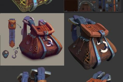 process collage of 3D modeled and textured ornate backpack by Adriana Gonzales