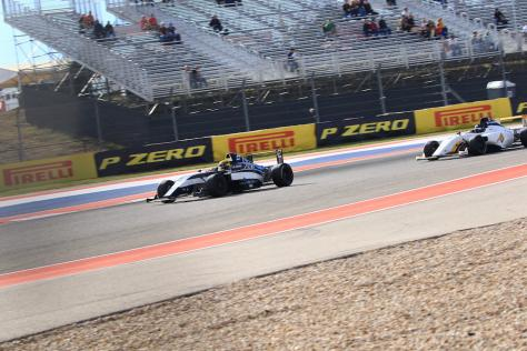 Race car driver Kory Enders driving the Valkyrie Velocity, designed by UT Austin student Hadley Chillura, in the 2019 Formula 4 Championship at Circuit of the Americas in Austin, Texas