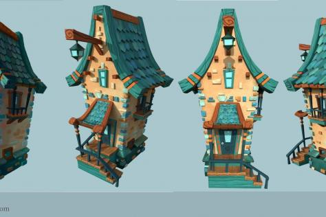 3D modeled and textured tall, skinny house from multiple points of view by Adriana Gonzales