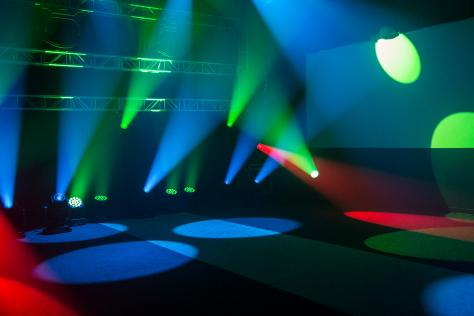 blue, green and red concert lighting