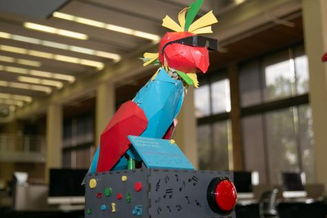 The Interactive Zoo: singing and dancing parrot created by students