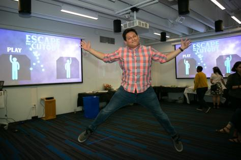 Student Alejandro Palacios jumps for joy over successful original game