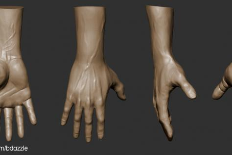 3D sculpted hand from multiple points of view by Britney Luong