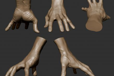 3D sculpted hand with fingers pressing down from multiple points of view by Britney Luong