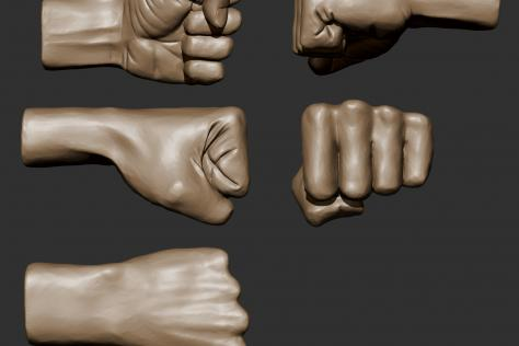 3D sculpted clenched fist from multiple points of view by Britney Luong