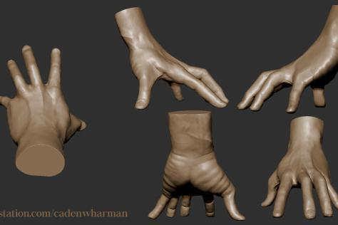 3D sculpted hand with fingers pressing down from multiple points of view by Caden Harman