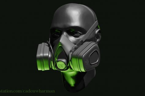 3D sculpted person from neck up wearing a gas mask by Caden Harman