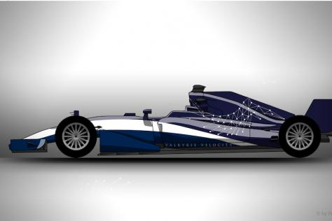 Side profile graphic rendering of the Valkyrie Velocity, designed by UT Austin design student Hadley Chillura