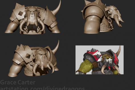 3D sculpted mythical character with tusks and armor by Grace Carter with concept art