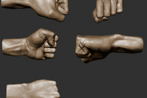 3D sculpted clenched fist from multiple points of view by Mariana Rios