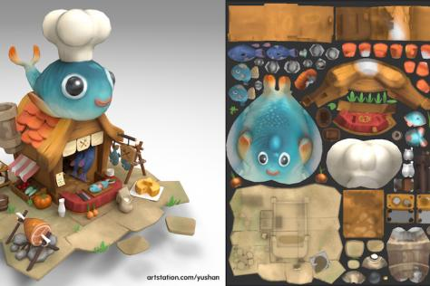 3D modeled and textured butcher's shop surrounded by with fish, meat, and tools/dishes by Yushan Sha