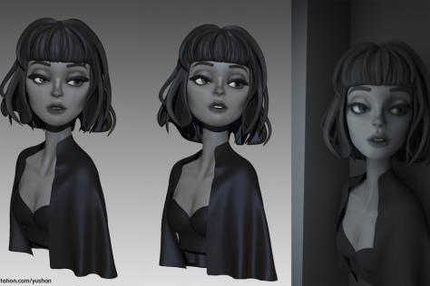 3D modeled and textured woman with short hair in black-and-white noir style by Yushan Sha