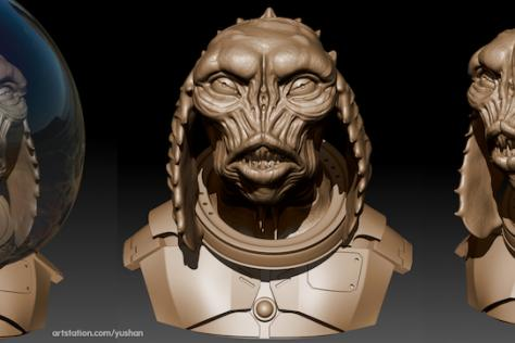3D sculpted sea monster wearing a diving helmet and armor by Yushan Sha