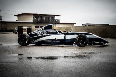 Side view of the Valkyrie Velocity, designed by UT Austin B.F.A. Design senior Hadley Chillura, on display at Circuit of the Americas