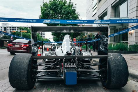 A back-end view of the Valkyrie Velocity on Congress Ave in anticipation of the 2019 Formula 4 Championship at Circuit of the Americas in Austin, Texas. The wrap was designed by UT Austin senior Hadley Chillura