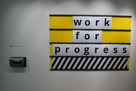 Main signage for Work for Progress, the MFA Design exhibition