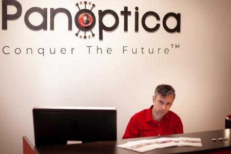 MFA candidate with his exhibition, Panoptica