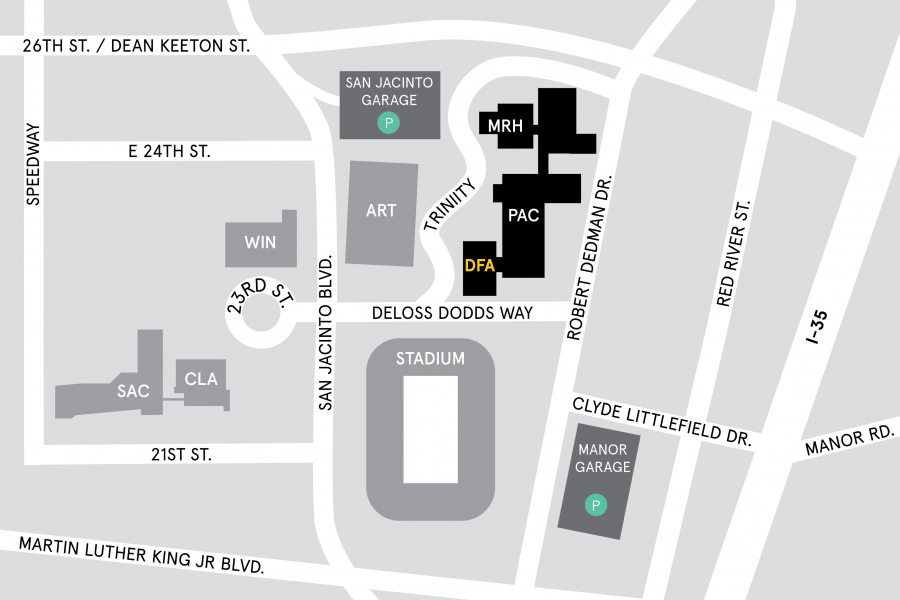 Map of area surrounding Doty Fine Arts Building at The University of Texas at Austin.