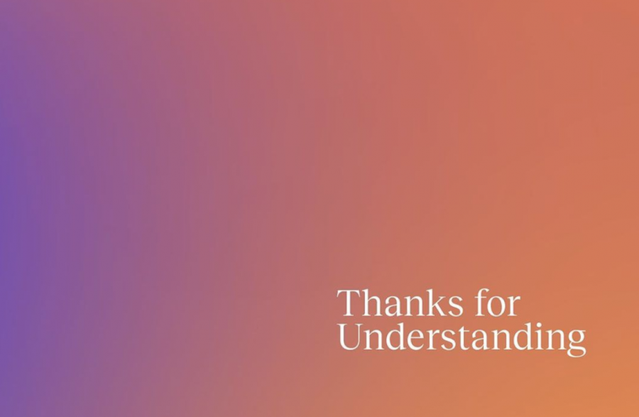 "text reads ""thanks for understanding"""
