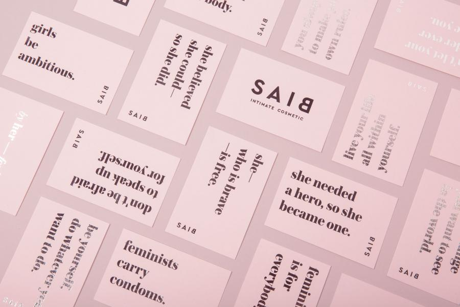 Branding packaging for BIAS with signature millennial pink color. Image courtesy of Jiwon Park.