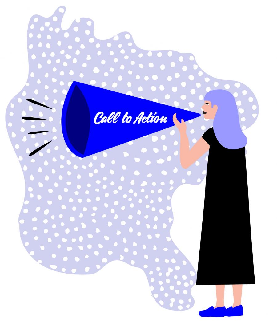 Illustration of a Call to Action by Misa Yamamoto.