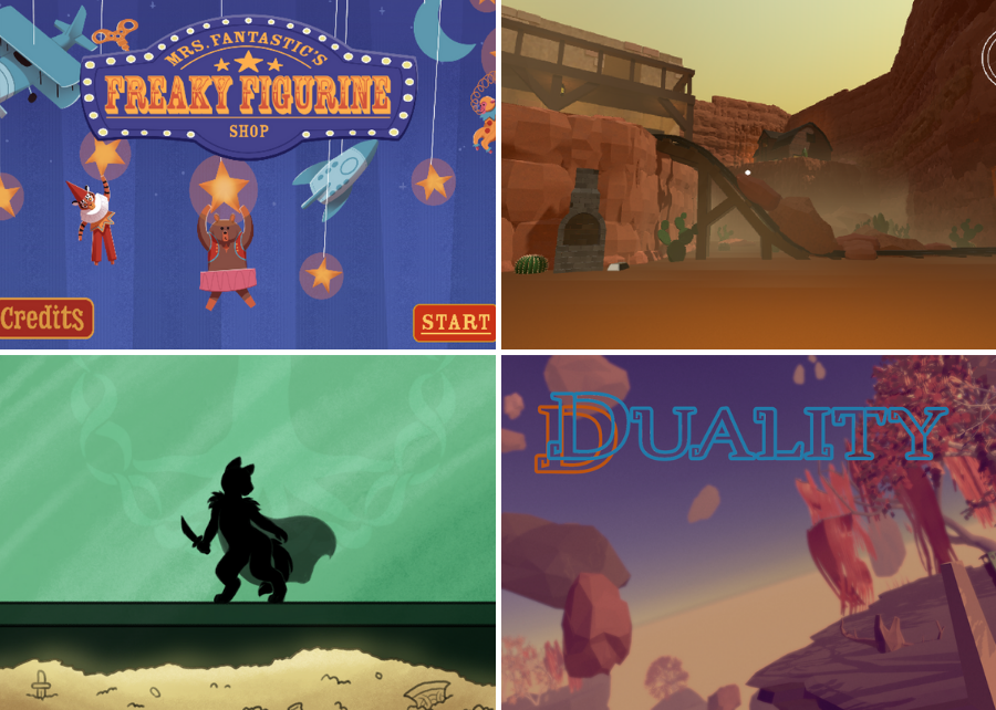 grid of images from Spring 2021 Game Development and Design 3D Capstones