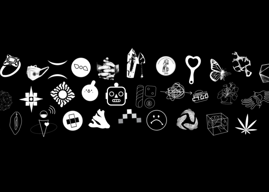 a collection of white symbols, each representing a different graduating B.F.A. Design senior's capstone project, against a black background