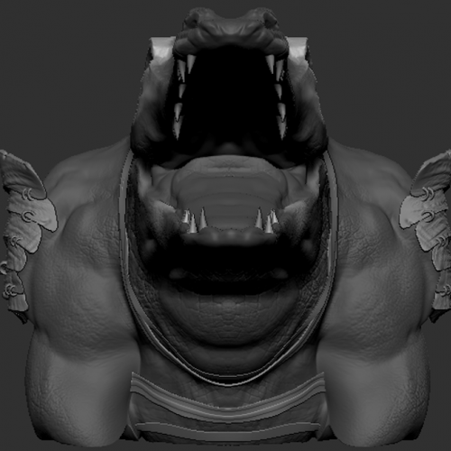 3D sculpt of crocodile warrior head from four different angles. made in ZBrush by AET senior Jessica Chambers. modeled after a piece of concept art sourced by Professor Oster.