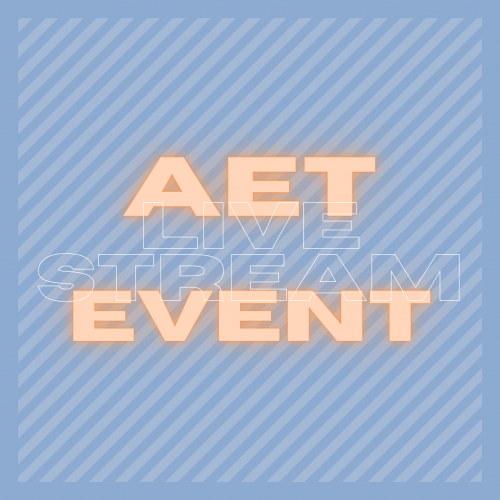 """white and peach-colored text that reads """"AET Livestream Event"""" over a blue striped background"""