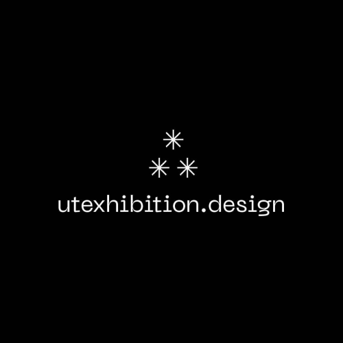 """white text that reads """"utexhibition.design"""" under a cluster of three white asterisks against a black background"""