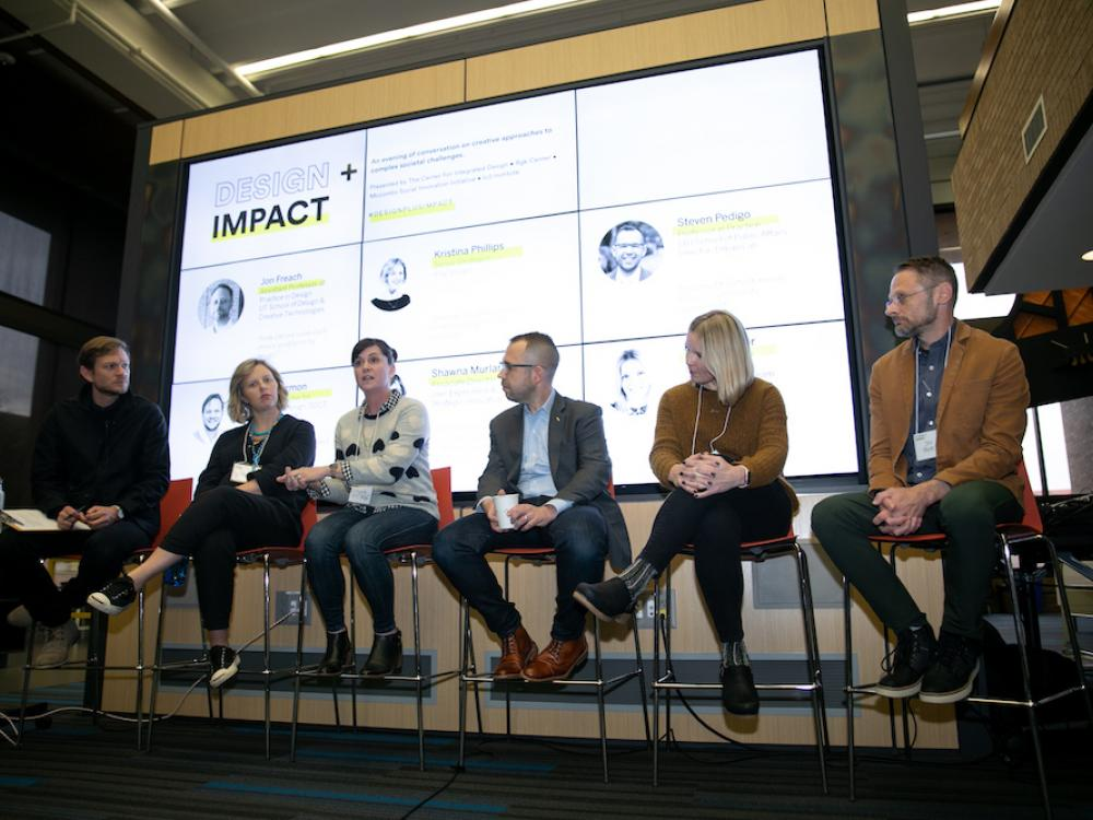 The panel of speakers at Design + Impact, an event put on by the Center for Integrated Design at the School of Design and Creative Technologies at UT Austin