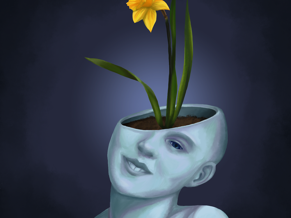 digital painting of a head that is open, filled with dirt, and holding a flower like a flower pot by AET student Jasmine Dillard