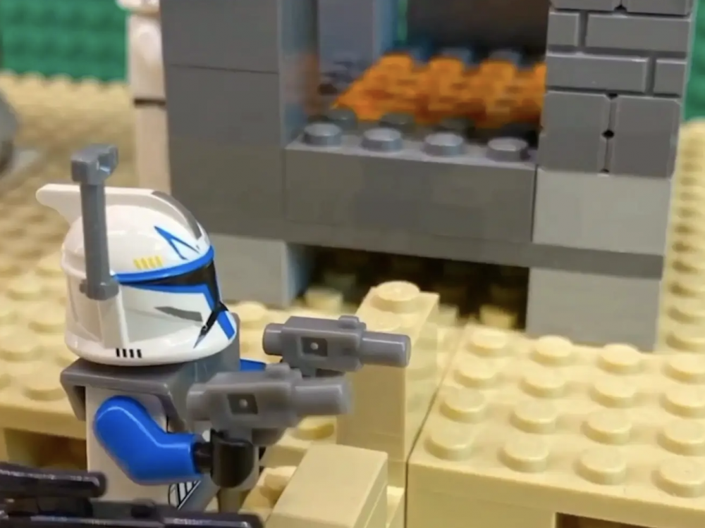 screenshot of Lego storm trooper shooting a blaster gun during a stop motion animation short from the 2020 Animation and Motion summer design institute