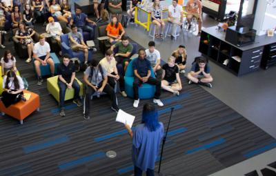 Doreen Lorenzo talks to SDCT students, faculty and staff. Photo by Lawrence Peart.