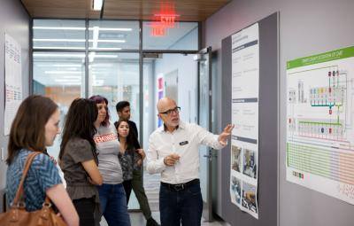 Jose Colucci gives a tour of the Design Institute for Health. Photo by Lawrence Peart.