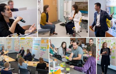 collage of pictures from the Design Institute for Health, including students and professors