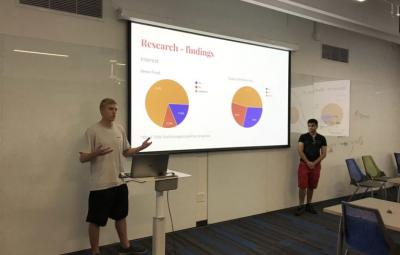 """Students share their research insights as part of Carly Burton's """"Design for AI"""" class."""