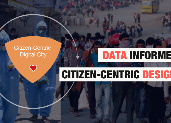 "Photos of civilians in hazmat suits and masks. a shield overlaid to the left contains ""Citizen-Centric Digital City"" and a heart. overlaid text to the left reads ""Data Informed Citizen-Centric Design"""