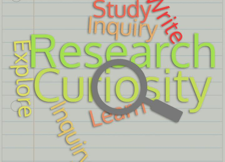 word cloud: study, inquiry, write, research, curiosity, learn, explore, inquiry. a magnifying glass hovers over the words