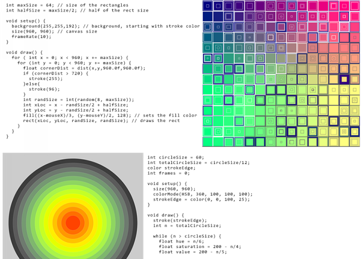 "four panels: two feature blocks of code and two feature the resulting colorful graphics. Text reads: ""Creative coding"""