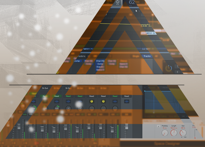 graphic of pyramid split in half horizontally. the pyramid contains a screenshot of the digital audio workstation (DAW) Logic Pro X and shows effects dials
