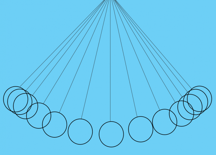 light blue graphic with black 2D rendition of Newton's cradle
