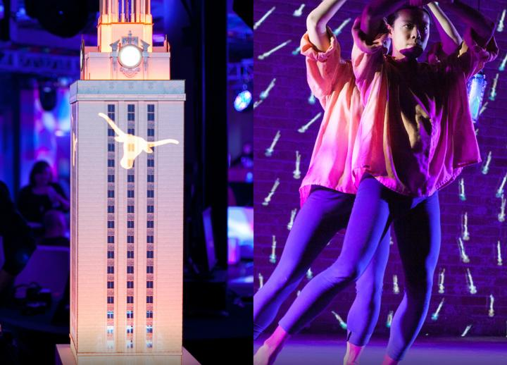 split frame: left side shows projection mapping on scale model of UT Austin tower and right panel shows projection and lighting at a live dance performance, centering on a dancer with arms above head