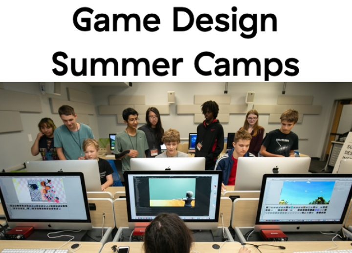 a high school student sits at the second of three computers displaying video games. a group of students stand across from her as they watch three students play games created at the 2019 SDCTx Game Design Summer Institute at UT Austin