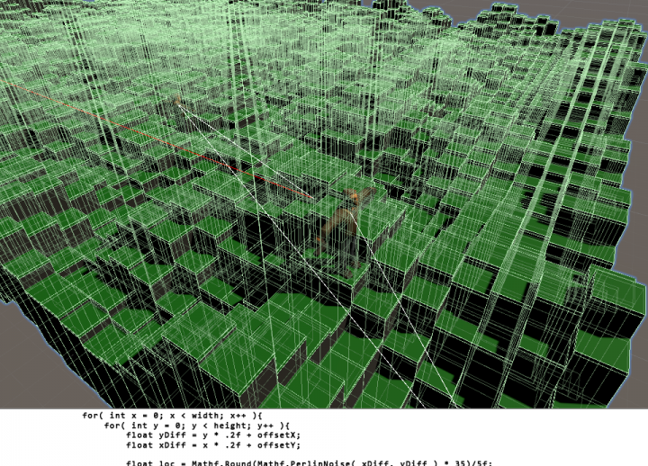 "block of code under the resulting 3D rendering in Unity. text reads ""game scripting"""