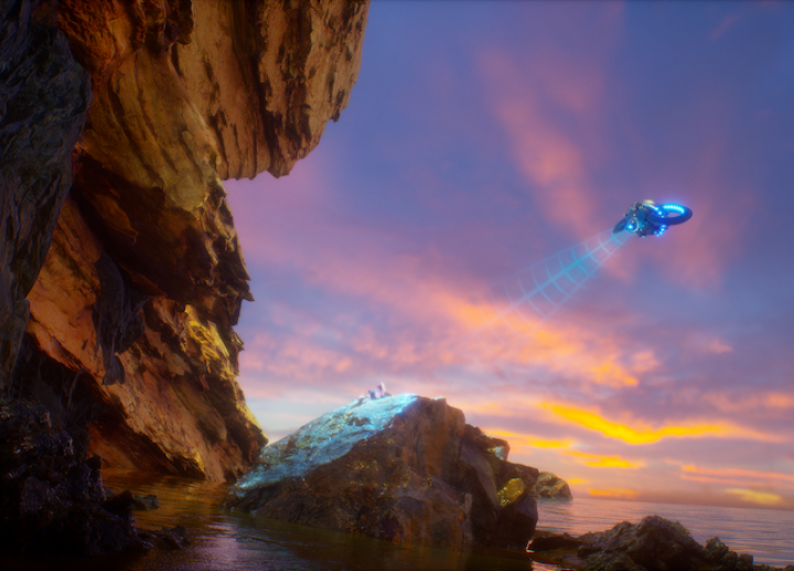 full-color rendering of a spaceship taking off over an ocean, rocky cliffs in foreground. colorful sunset in background
