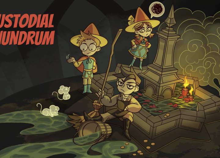 "title image from 2D Game Development and Design capstone game ""Custodial Conundrum"" featuring medieval characters and mice around a fountain inside a cavern"