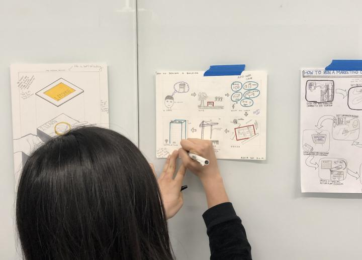 an undergraduate student sketches a design on a piece of paper on a white board