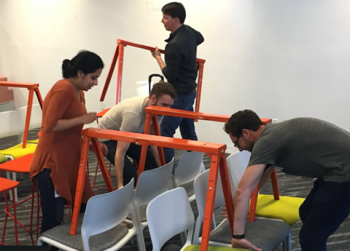 UT Austin students prototyping furniture in a Center for Integrated Design course